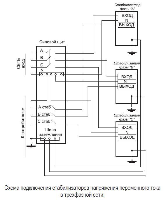 Схема подключения к трехфазной нагрузке
